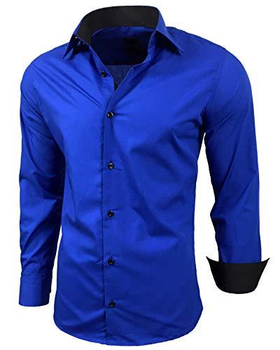 Baxboy Herren-Hemd Slim-Fit Bügelleicht Für Anzug, Business, Hochzeit, Freizeit - Langarm Hemden für Männer Langarmhemd R-44, Farbe:Sax, Größe:S