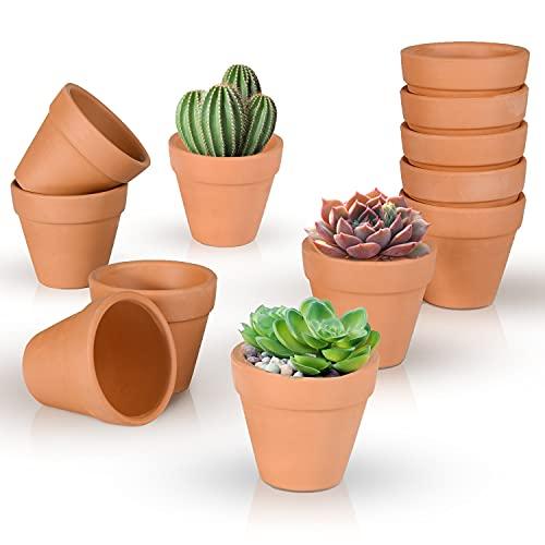 Ulikey Pots de Fleurs en Terre, 12pcs Pots en Terre Cuite, Pots Jardinage en Terre, Pots de Pépinière, Pot de Fleur Respirant, Pots de Fleurs Ronds pour Plantes Cactus Extérieurs et Intérieur (12PCS)
