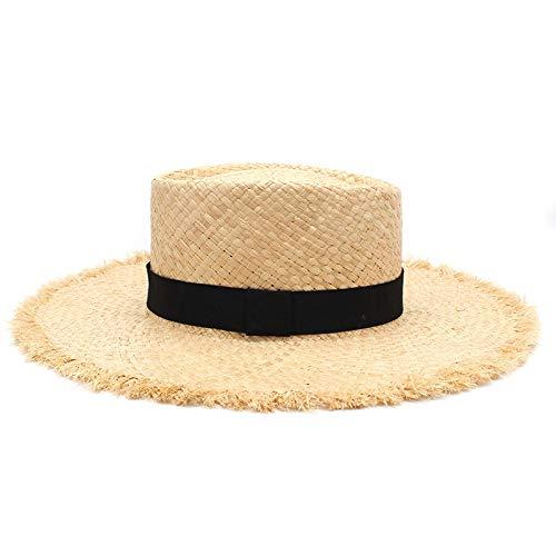 SENFEISM Sombreros de Paja para Mujer, Nuevo cinturón, Paja de Rafia, Visera...