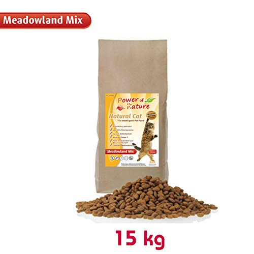 Power of Nature 15 kg Natural Cat Meadowland Mix Katzenfutter Trockenfutter Huhn Lachs getreidefrei glutenfrei