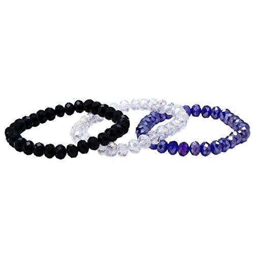 Morella Damen Armband Set 3 Armbänder mit facettierten Glasperlen weiß schwarz lila