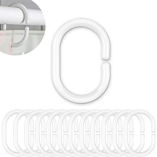 Duschvorhang Ringe, 12 Pack, Weiß, 4.6 x 2.9 cm Innendurchmesser für Duschvorhangstangen und Duschvorhangwinkelstangen, Duschringe, aus stabilem Kunststoff, Ringe für Duschvorhang, Duschvorhangring