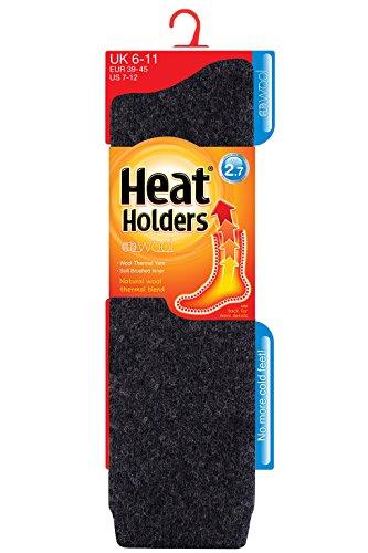 Heat Holders Chaussettes de support Messieurs Extra Longue en 2.7 TOG de chaleur UK 6–11, EUR 39–45, gris charcoal grey