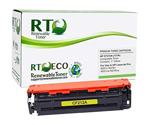 Renewable Toner Compatible Toner Cartridge Replacement for HP 131A CF212A Color LaserJet 200 M251 M276 (Yellow)