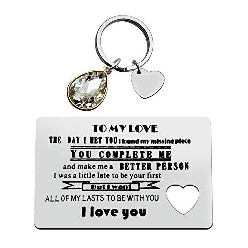 Anniversary Card Gifts for Boyfriend Girlfriend Couple Gift Jewelry Engraved Wallet Inserts Card Keychain Set Deployment Gift Valentine's Day Jewelry Birthday Wedding Gift for Men Women
