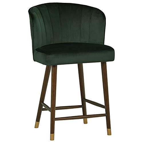 Amazon Brand – Rivet Modern Barstool, 35'H, Dark Green