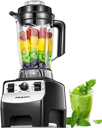 Nyyin smoothie mixer, 2000W 2L hochleistungs standmixer, 39,000 U/min, Tritan-Behälter BPA-Free Edelstahl Standmixer 10 Geschwindigkeitsstufen,Deckel mit Nachfüllöffnung,Impuls-/Ice-Crush Funktion