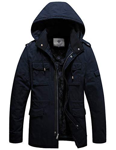 WenVen Men's Cotton Windbreak Military Style Jacket with Hood Navy Xl