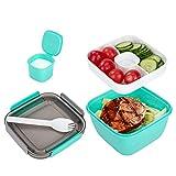 Brotdose Luftdichte Lunchbox Mit Fächern Und Besteck Umweltfreundliche Bento Box Auslaufsicher für Erwachsene Und Kinder Brotzeitbox für Mikrowellen Und Spülmaschinen Grün