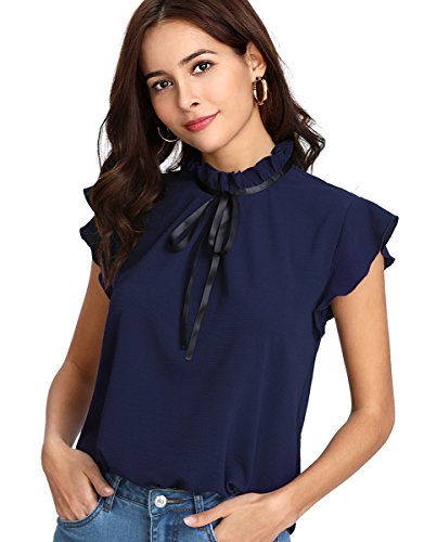 Romwe Women's Casual Cap Sleeve Bow Tie Blouse Top Shirts