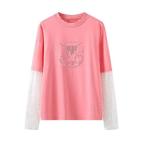 Nuevo diseño de gato de algodón puro para taladro en caliente a juego con lentejuelas falsas dos camisetas para mujer