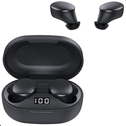 VOYA2 - Auricolari Bluetooth 5 Senza Fili con Controllo Touch, IPX5 Impermeabili 3D Stereo HiFi Cuffie Sportivi Ricarica Rapida USB-C con Microfoni per iPhone e Android
