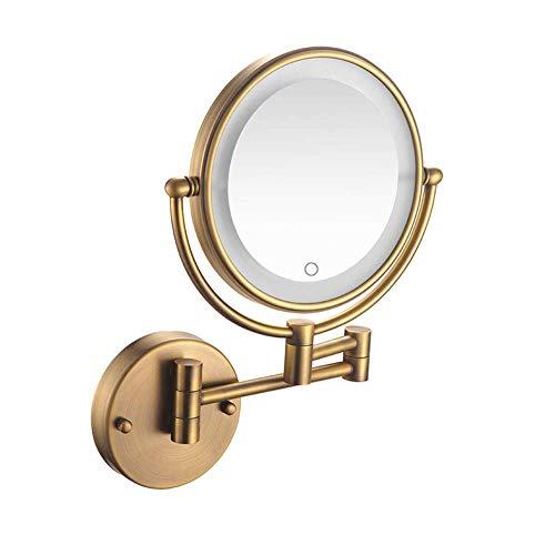 HYLH LED Badezimmerspiegel beleuchtet Kosmetikspiegel Wandspiegel Touchscreen 5-fache Vergrößerung Doppelarmverlängerung Doppelseitig Runder 360 ° drehbarer Wandspiegel Unterputz