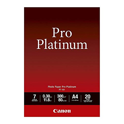 Canon 2768B016 PT-101 pro platinum photo paper inkjet 300g/m2 A4 20 Blatt Pack & PT-101, 10 x 15 cm Professionell Fotopapier Platinum (300 g/qm), 20 Blatt