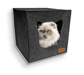 AVEELO Niche pour chat en feutre – avec coussin amovible 33 x 33 x 33 cm – Niche en feutre pour chat en gris compatible avec IKEA Kallax et Expedit maison chat interieur Paniers pour chiens