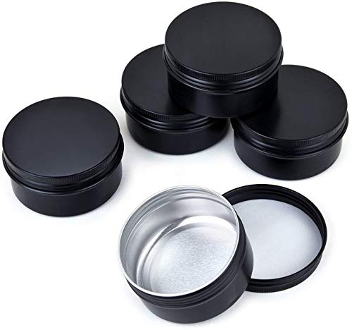 QXcom 5 Oz 6 Pack Black Round Tin Cans Aluminum Tin Screw Top Lid Metal Steel Tins 150g Empty Cosmetic Sample Container Storage Organization for Salve Crafts Spices Candies Tea Gift Giving(Black)