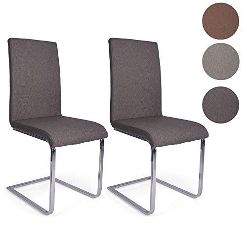 Mingone 2er Set Esszimmerstuhl Küchenstuhl Schwingstuhl Stoffbezug Freischwinger Design Metallgestell in Chrom (dunkel)
