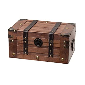 SLPR Alexander Small Wooden Storage Chest Trunk   Decorative Wood Box with Lid   11  x 7  x 5.5