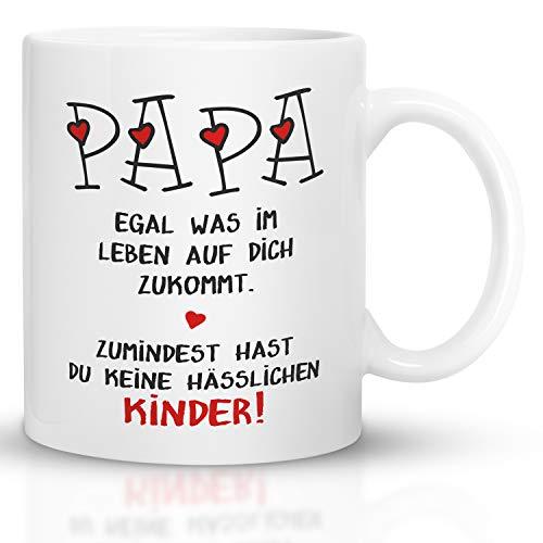 Kaffeebecher24 - Geschenk Vatertag - Tasse mit Spruch Papa hässliche Kinder - Spülmaschinenfest Geschenke für Papa - Tasse lustig - Vatertagsgeschenk Tasse - weiß