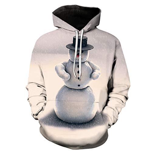 JiaMeng-ZI Sudaderas con Capucha Impresión navideña Creativa en 3D Unisex Hoodie al Aire Libre Casual Sweatshirts Espesar Fabric Mantener Caliente Abrigo de Manga Larga Cálido y Cómodo Pulóver