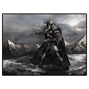 Bedroom Carpet Skeleton Knight in The Winter Anti-Skid Area Rug Dining Room 6 X 9 Ft