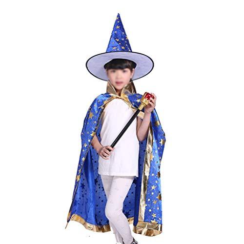 LANGING 3 Stks Halloween Kostuums Heks Wizard Mantel Hoed voor Kinderen Blauw
