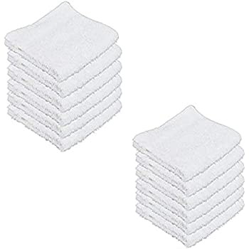 White FEEMO Face Cloth Pack of 12 White Face Cloth 100/% Cotton Washcloths Quick-Dry Face Cloths Pack d/ébarbouillette Blanche
