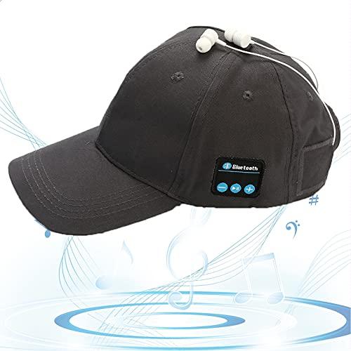Gorro Bluetooth, Gorra de Música Bluetooth, Gorra de Béisbol Sonido HD, Espera Larga, Sombrero para Sol, Regalos Cumpleaños para Amigos, Familias,Gris