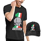 AOCCK Camisetas y Tops Hombre Polos y Camisas, Customized Cagiva Motorcycles Logo T-Shirt with Hats for Men 100% Organic Cotton Short Sleeve Black