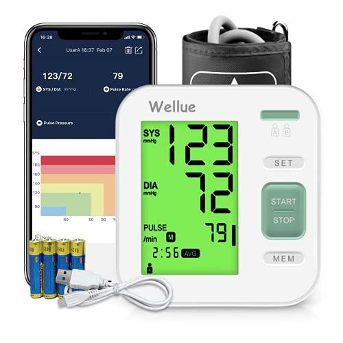 Tensiómetro de Brazo Digital, APP con Gestión de Datos, Usuario Dual, Detección del Pulso Arrítmico, Home Blood Pressure Monitor con Brazalete 22-40cm