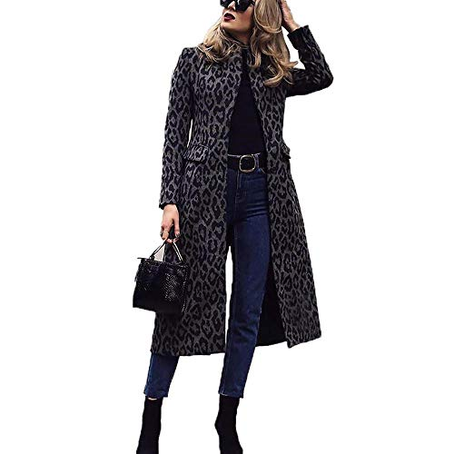 Initial heart dames winterjas trenchcoat lange mouwen revers black luipaard top