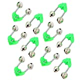 Wingsflying 10 cañas de pescar con alarma extra fuerte, doble alerta, tono verde y plateado
