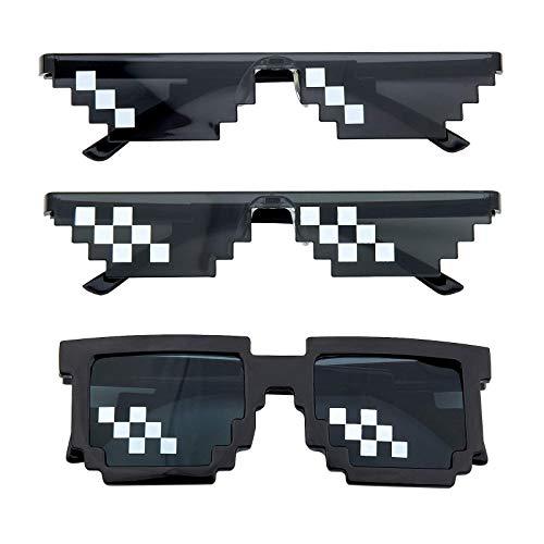 3 Piezas de Gafas Thug Life, Gafas de Sol Pixel,Gafas de Sol Thug, Gafas de Sol de Plástico Con Píxeles, Gafas de Sol Divertidas Con Píxeles, para Niños y Adultos (Negro)