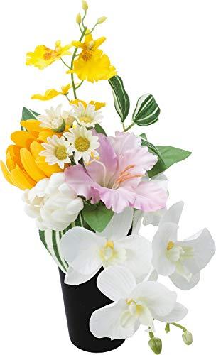 ポピー 造花 ナチュラルポット 仏壇用 ペット 供花 お供え 仏花 アーティフィシャル フェイク アレンジメント フラワー ミックス 16×17×16cm FP-0843MIX