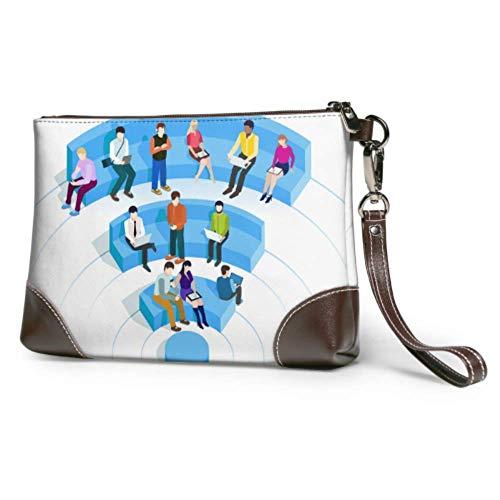 Ahdyr Bolso de mano de cuero suave impermeable bolso de mano de cuero con señal creativa Wifi Cartera de mano para niñas con cremallera para Wpresagio niñas