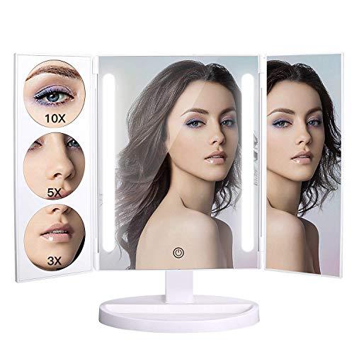 BXU-BG LED de Plegado Triple Espejo del Maquillaje de Encendido LED Espejo de baño 3X / 5X / 10X de Aumento de la batería y su Carga USB / 180 Grados de rotación Libre Ajustable