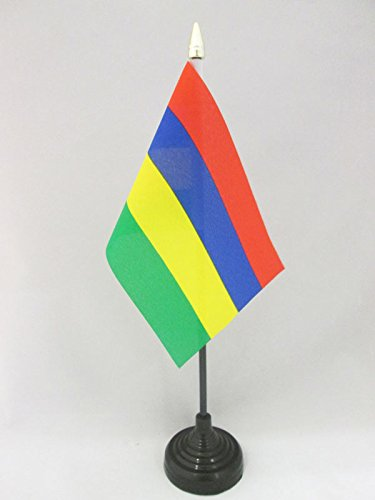 AZ FLAG TISCHFLAGGE Mauritius 15x10cm goldene splitze - Republik Mauritius TISCHFAHNE 10 x 15 cm - flaggen