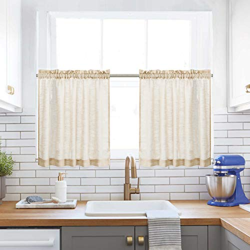 """Kitchen Tiers Curtains for Bedroom Linen Textured Semi Sheer Window Curtain Panels Cafe Curtains, Pol Top, 1 Pair, 24"""" Length, Taupe"""