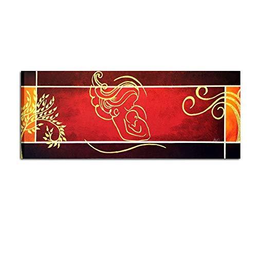 Marco pintado a mano para cama cuadros modernos cabecero rojo Virgen con Niño Rojo Burdeos con aplicaciones de purpurina alta calidad, 'Made in Italy - Miriam 2