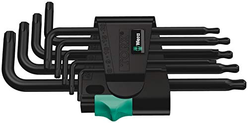 Wera 05024242001 967 PKL/9 TORX Winkelschlüsselsatz, BlackLaser, 9-teilig, Black, One Size, 9 Stück