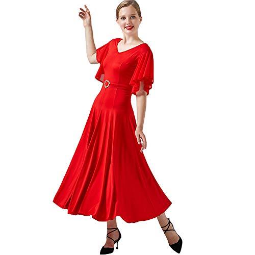 YUMEIREN - Vestido de baile de salón de baile con mangas de volantes y cuello en V, Mujer, color rojo, tamaño XX-Large