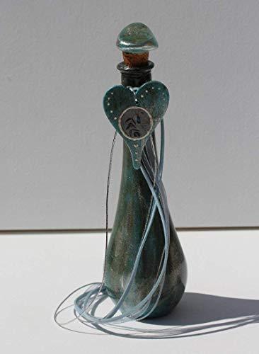 Unikat Deko Flasche mit Friedenstaube Motiv PEACE DOVE, Fairy Bottle Glas-Kunst Dekoration im Shabby Chic Stil, Einzelstück Nr. 3, Dolphins & Doves Glücksbringer Design-Serie