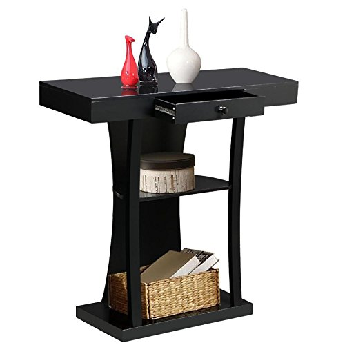 YAHEETECH 3 Tier Console Sofa Tables with Drawers Living Room Pedestal Entry Table Black