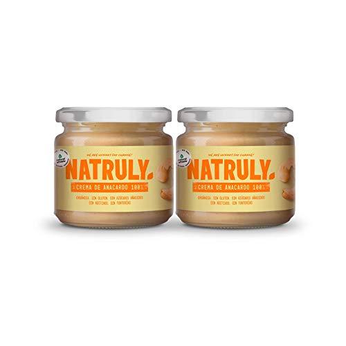 NATRULY Crema de Anacardos BIO, Crema de Anacardo Orgánica, 100% Anacardo Sin Azúcar, Sin Gluten - Pack 2x300 g