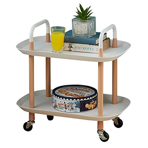 HYF Carrito de almacenamiento de 2/3 niveles, organizador multifunción para cocina, estante móvil con ruedas para baño/oficina (color: 2 niveles blanco)