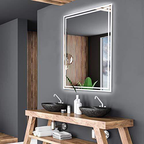 Alasta Spiegel | Vilnius Badspiegel 60x110cm mit LED Beleuchtung | LED Farbe Weiß Kalt | Beleuchtet Badezimmerspiegel