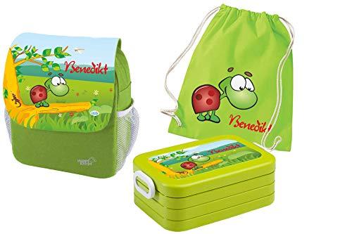 Mein Zwergenland Set 4 Kindergartenrucksack mit Brotdose Maxi und Turnbeutel Happy Knirps Next Print mit Name Schildkröte, 3-teilig, Grün