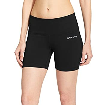 BALEAF Women s 5  Volleyball Biker Running Yoga Shorts Spandex Compression High Waisted Shorts Pocket Black