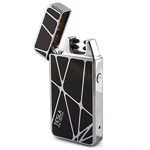 Tesla Coil Lighters USB Rechargeable Windproof Dual Arc Lighter (Black)