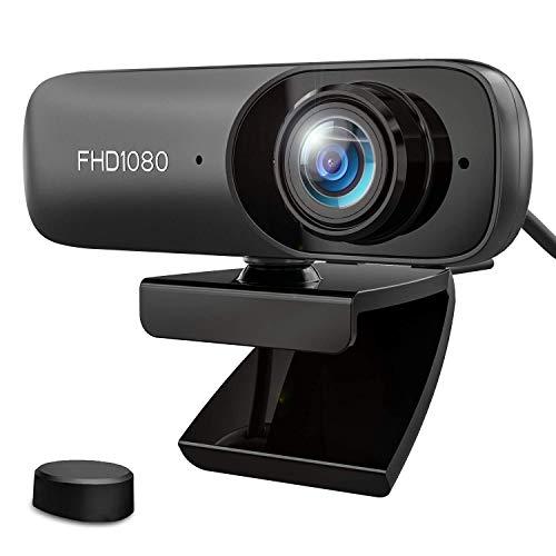 Kdely Webcam PC Full HD 1080P con Micrófono Estéreo Reducción de Ruido Web Cámara con Cover Portátil USB 2.0 Corrección de Iluminación Automática para Windows/Videollamadas/Conferencia/Grabación
